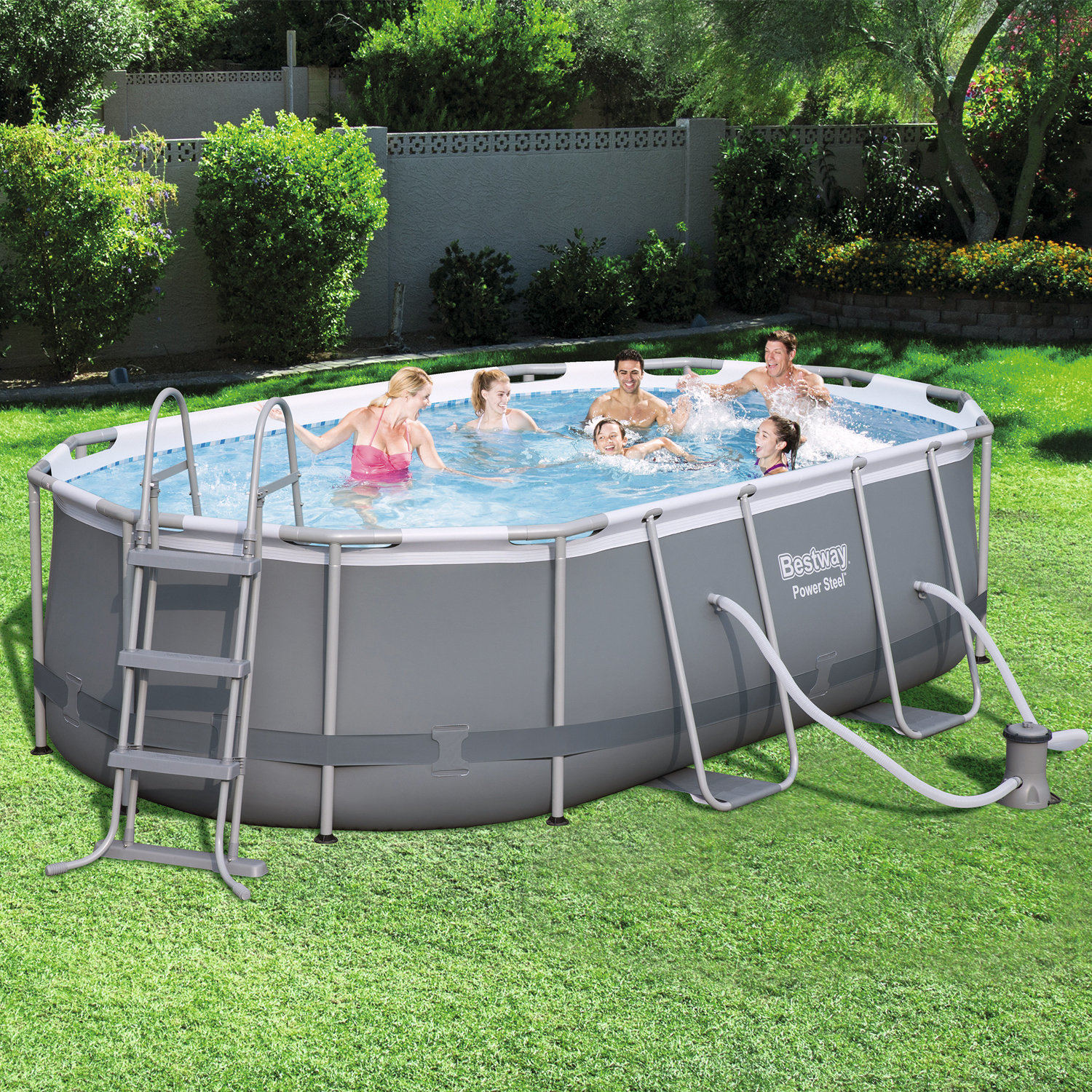Bestway 56620 power steel oval pool set 424x250x100 cm for Ovaler pool zum aufstellen