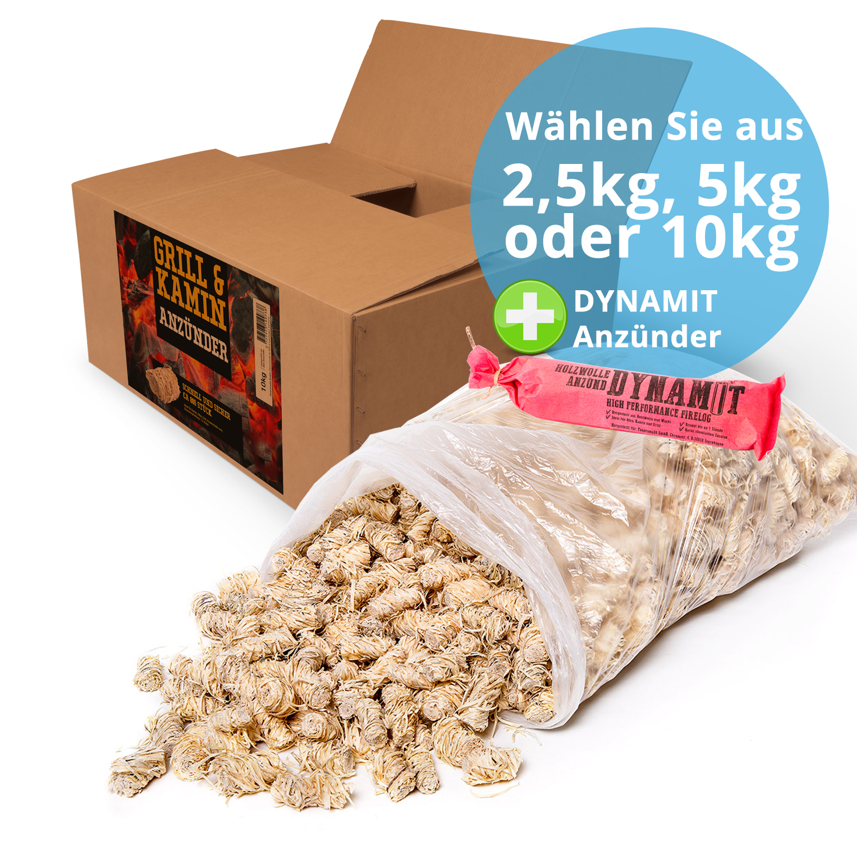3,3 KG  Kaminanzünder Grillanzünder  Zündwolle Kg//5,90€  ca.250 Stück